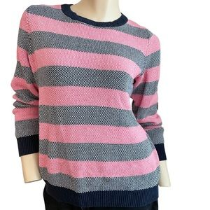 Vintage 80s Pink and Navy Striped sweater-M